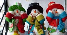 Moldes para hacer pinguinos de navidad y muñecos de nieve Felt Snowman, Snowman Crafts, Christmas Snowman, Christmas Crafts, Xmas, Felt Christmas Decorations, Holiday Ornaments, Wilton Cake Decorating, Creation Couture