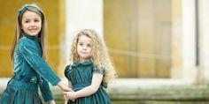 #kidsclothing jade jersey velvet roll up neck shirt + jade taffetà skirt and jade taffetà dress with smock