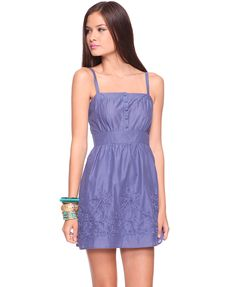 Swirling Floral Hem Sundress (Blue)