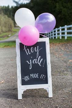 """Hey Y'all"" Chalkboard Sign from a Cowgirl Birthday Party Roundup on Kara's Party Ideas 