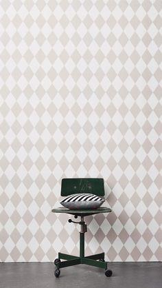 Harlequin Grey Wallpaper from ferm LIVING. #wallpaper #design #pattern