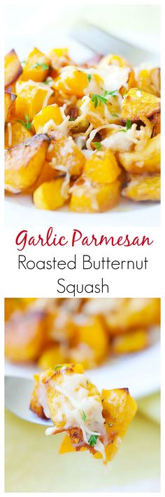 Use fresh sage instead of parsley-- yum! Garlic Parmesan Roasted Butternut squash - sweet tender butternut squash roasted with butter, garlic & Parmesan cheese. So AMAZING you want it every day! Side Dish Recipes, Vegetable Recipes, Vegetarian Recipes, Cooking Recipes, Healthy Recipes, Vegan Meals, Easy Cooking, Easy Delicious Recipes, Yummy Food