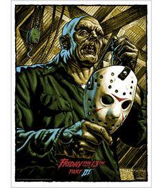 Poster by Jason Edmiston. Signed by Jason Edmiston. Jason Edmiston, Jason Voorhees, Horror Posters, Horror Icons, Film Posters, Arte Horror, Horror Art, Horror Movie Characters, Horror Movies