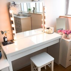 My DIY Dressing Table and Vanity Mirror - Claire Baker Vanity Mirror Ikea, Dressing Table Vanity Mirror, Ikea Vanity Table, Brimnes Dressing Table, Dressing Table Room, Diy Dressing Tables, Dressing Table Furniture Design, Arranging Bedroom Furniture, Deco Furniture