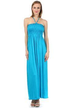 Sakkas Soft Jersey Feel Solid Color Smocked Bodice String Halter Long Dress - List price: $69.99 Price: $23.99  #Sakkas