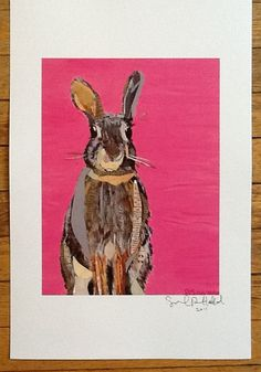 Bunny on Pink Limited Edition Print from by zouzousbasement
