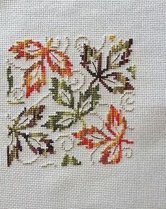 completed cross stitch Autumn leafs