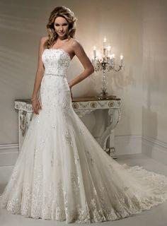 a-line strapless natural chapel floor-length tulle wedding dress