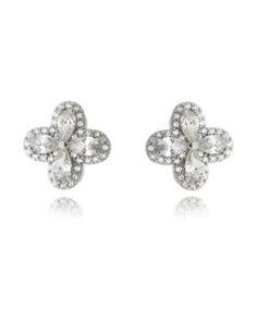 brinco prata 925 com zirconias cristais em formato de flor com banho de rodio semi joias finas