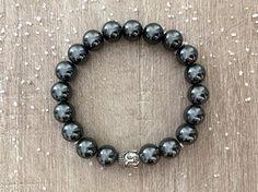 Bracelet homme, hématite, pierre naturelle, bien-être, lithothérapie, Bouddha, style zen et ethnique, idée cadeau : Bracelet par maheva