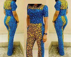 African print stoned jumpsuit Blue and Yellow Jumpsuit