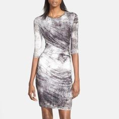 Helmut Lang Nova Print Jersey Dress Side-seam ruching encourages the figure-flattering front drape of a supple jersey dress rendered in an artistic graphite print. 100% viscose. Slips on over head. Brand new. Price is firm and trades. Helmut Lang Dresses