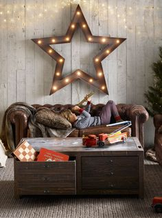 luxurious leather sofa, vintage-inspired game table and cozy faux fur accents. #rhbabyandchild