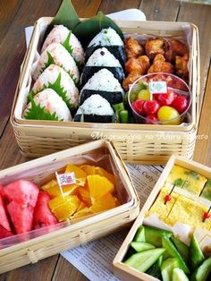 Picnic Bento with Rice Balls 運動会弁当 | Japanese Lunch Box, Japanese Food, Bento Ideas, Lunch Ideas, Food Ideas, Rice Box, Picnic Box, Ducks, Daughters