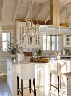 Cute Kitchen ~ I love cabinets with glass doors.