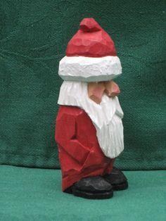 Hand Carved Handmade Short Grumpy Santa