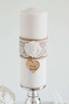 Hochzeitskerzen & Beleuchtung - Hochzeitskerze personalisiert - Jute & Spitze - ein Designerstück von little-pink-butterfly bei DaWanda