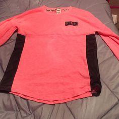 Pink shirt Worn once good condition. PINK Victoria's Secret Sweaters Crew & Scoop Necks