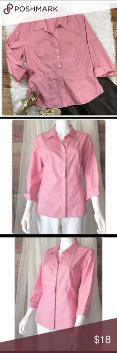 """PL 14 16 Coldwater Creek Pink Striped Blouse Coldwater Creek Pink Gingham Blouse   Pit to pit measures 22"""" Length 26"""" Gently Used with no flaws Coldwater Creek Tops Blouses"""