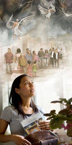 Chrześcijanka szykuje się do służby irozmyśla oaniołach powstrzymujących wiatry zagłady
