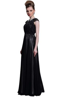 Full Length Black Chiffon Evening Dress (30982)  £295.00 Here is a long A-line black chiffon formal dress with  close round neck with criss-cross design collar, cap sleeves, embellish bodice and an under-layer ivory satin skirt. This debonair full length black chiffon evening dress is perfect for prom or any formal event.