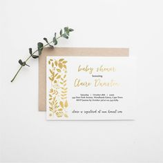 Gold Baby Shower Invitation Printable Mock Foil Gold Leafs Invite Modern Invitation