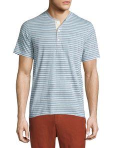 Hunter Striped Short-Sleeve Henley Shirt, Light Blue, Men's, Size: X-LARGE - Billy Reid