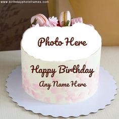 Happy Birthday Flower Cake, Happy Birthday Cake Pictures, Happy Birthday Wishes Cake, Happy Birthday Kids, Birthday Cake With Photo, Beautiful Birthday Cakes, Chocolate Cake With Name, Happy Birthday Chocolate Cake, Birthday Chocolates
