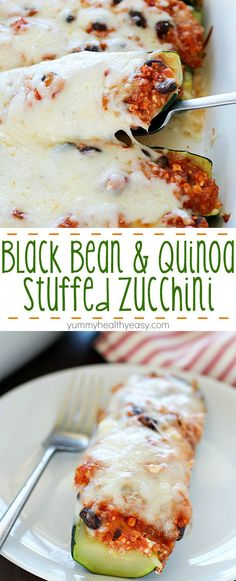 Healthy Black Bean & Quinoa Stuffed Zucchini - a hearty and easy meatless side dish or dinner that's gluten-free and clean-eating. So delicious, you won't even think it's healthy! Ingredients: zucchini, quinoa, cottage cheese, tomato sauce, black beans, cumin, chili and onion powder, s and p, shredded cheese
