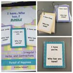 """""""I Have…Who Has"""" Phonics Bundle - includes card sets for verbs, irregular verbs, and contractions. TPT store: Pursuit of Happiness"""