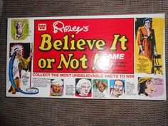 1977 Ripleys Believe it or Not Game Whitman Lets Play A Game, Games To Play, Game Museum, Bored Games, Ripley Believe It Or Not, Weird Toys, Vintage Board Games, Unbelievable Facts, The Ordinary