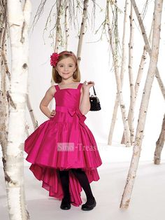 Fuchsia Square A-line Asymmetic Taffeta Flower Girl Dress - Hot Pink and Black