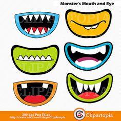Monsters Mouth and Eyes Digital Clipart / Little Monster Party Decorations / Monsters Photobooth  props/ Instant download