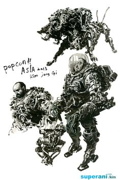 Dive into The Art of Kim Jung Gi, a korean artist born in 1975 in Goyang-Si in the province of Kyongki-Do. At he entered the Fine Arts School and major Character Design References, Character Art, Illustrations, Illustration Art, Junggi Kim, Kim Jung, Korean Artist, Cool Drawings, Comic Art