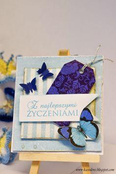 scrapbooking / cardmaking / niebieska kartka z życzeniami z motylami / blue butterfly greeting card