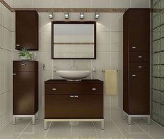 Muebles para lavabos con pedestal chocolate Interior Design Minimalist, Wood Interior Design, Interior Design Living Room, Living Room Decor, Bedroom Decor, Pedestal Sink Storage, Wash Basin Cabinet, Bathroom Cupboards, Washroom