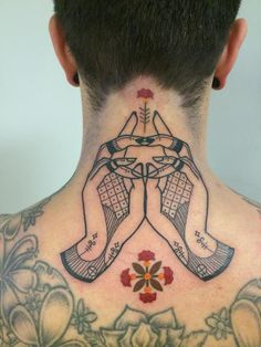 Lovely nape tattoo by Bouits!