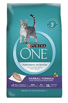 Purina ONE Hairball Formula Adult Premium Cat Food - Show your cat the love she deserves at mealtime by setting out a nutritious dish of Purina ONE Hairball Formula premium adult dry cat food. Starting with real chicken as the number one ingredient, this everyday dry food provides 38 grams of protein per cup for your adult cat. This easily digestib...