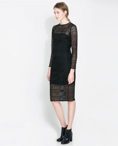 Image 1 of LATTICE SLEEVE DRESS from Zara