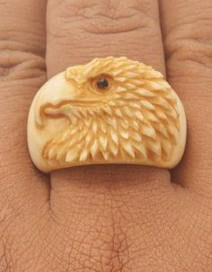 Nice ring design, eagle bird using natural tea color by artist painted. Take look especially if you like