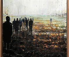 Contemporary expressive abstract figurative urban city oil paintings