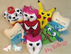 Tooth fairy pillow  Hada de los dientes www.facebook.com/mybellezze Pikachu, Lalaloopsy, Teenage mutant ninja turtles, Marshall Paw Patrol Tooth Pillow, Tooth Fairy Pillow, Mutant Ninja, Teenage Mutant, Easy Sewing Projects, Sewing Crafts, Dental Kids, Sewing To Sell, Felt Mobile