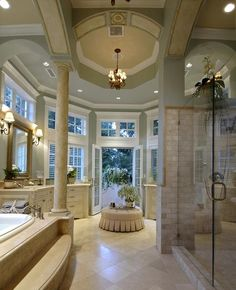 Gorgeous master bath - love the French doors to outside!