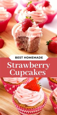 These homemade Strawberry Cupcakes are so fluffy, moist and made from scratch! Frost them with a swirl of sweet, homemade Strawberry Buttercream Frosting! Strawberry Cupcake Recipes, Homemade Cupcake Recipes, Cupcake Flavors, Baking Recipes, Cookie Recipes, Gourmet Cupcakes, Oreo Cupcakes, Easter Cupcakes, Flower Cupcakes