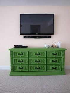 Dresser TV Stand. I think this is what mine might have looked like, had I stuck to the green. Shame I didn't I kind of like this. Color is just scary sometimes.