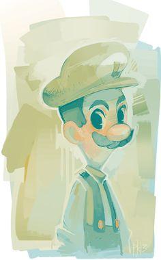 """ruiji by Mel (purplekecleon, USA) """"issa me ruiji. dream team is really good"""" Luigi fanart {digital, 2013}"""