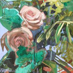 Graphic Flower paintings. Kate Mullin Williford Art