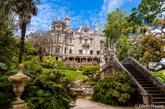 """Quinta da Regaleira ~ An estate located near the historic center of Sintra, Portugal. It is classified as a World Heritage Site by UNESCO.  It consists of a romantic palace and chapel, and a luxurious park featuring lakes, grottoes, wells, benches, fountains, and a vast array of exquisite constructions. The palace is also known as """"Palace of Monteiro the Millionaire"""", from the nickname of its first owner, António Augusto Carvalho Monteiro."""