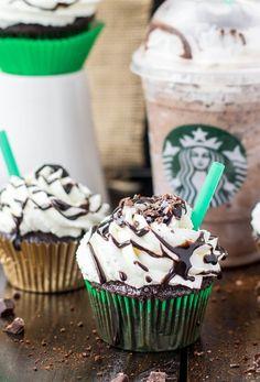 Copycat Starbucks Double Chocolate Chip Frappuccino CUPCAKES... oh my! via SugarSpunRun