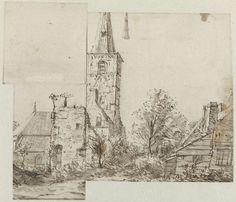 Isaac van Ostade | Gezicht op de kerktoren bij Rijnsburg, Isaac van Ostade, 1631 - 1649 | De tekening is in drie stukken gesneden.